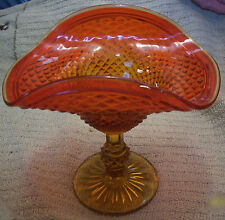 JEANNETTE AMBERINA GLASS DIAMOND POINT FLARED FOOTED COMPOTE