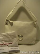 NEW $895 Salvatore Ferragamo White Leather Satchel Shoulder Bag Handbag Purse