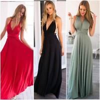 Ladies Womens Multiway Dress Summer Halter Back Long Cotton Bridesmaid Maxi