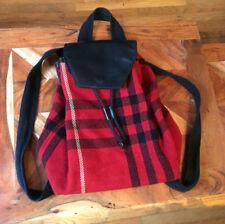 Rare BURBERRY Wool Red Nova Plaid Leather Trim Backpack purse bag vintage