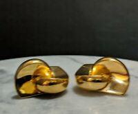 Christian Dior Designer Gold Tone 60s 70s Retro Modern Vintage Earrings 2733491