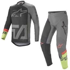Alpinestars 2021 Adult Racer Compass Black Grey Green Motocross Gear Kit Combo