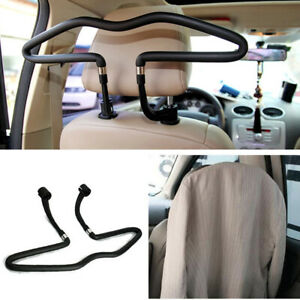 1x Stainless Steel Car Seat Headrest Coat Rack Jacket Shirt Clothes Hanger Black