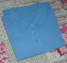 Girls Blue 100% Cotton School Uniform PE Polo Shirt 4-5 Years Height 104-110cm