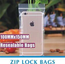 1000pcs 100X150mm Resealable Recloseable Zippper Lock ZipLock Plastic Seal Bags