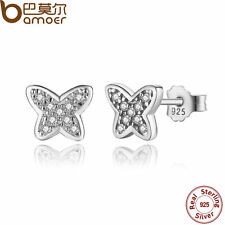 Bamoer S925 Sterling Silver Butterfly Women Stud Earrings With Clear CZ Jewelry