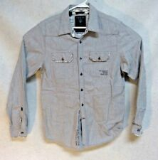 Guess Los Angeles la Mens Gray Button ls Casual Shirt Size L Embroidered