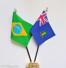 Brazil & British Virgin Islands Double Friendship Table Flag Set