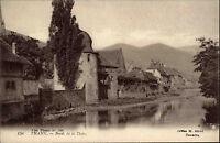 Thann Frankreich Elsass Postkarte ~1910 Bords de la Thür Dorfansicht ungelaufen