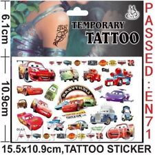 RARE Pixar Cars Mcqueen Temporary Tattoo Sheet Kids Birthday Party Bag Filler