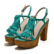 Designer Sandals by Mimi Shoes in Turquoise Size 6 Platform Heels Euro 39