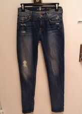 7 FOR ALL MANKIND WOMEN'S DESTROYED DETAIL SKINNY JEANS SIZE 24