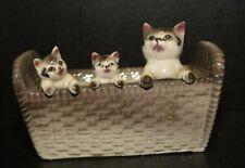 Vintage Adorable Tabby Cat Kittens In Ceramic Basket Planter Trinkets Box Japan