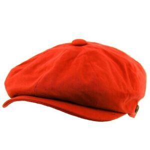 Men's 8 Panel Solid Plain 100% Cotton Snap Newsboy Drivers Cabbie Cap Hat