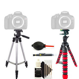 Tall Tripod + Flexible Tripod + Cleaning Accessory Kit for Canon EOS T5 T6