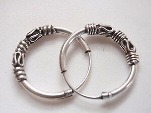 Bali Hoop Earrings 925 Sterling Silver with Decorative Accents 16 mm