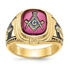 Men's 14K Yellow Gold Synthetic Ruby Masonic Ring MSRP $2367 for sale
