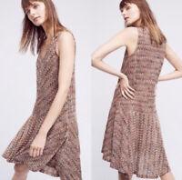 Anthropologie Maeve Multicolored Chevron Stripe Knit Dress Flounce Hem Women's M