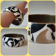 retro black white brass inlaid horn resin bangle boho chunky statement bracelet