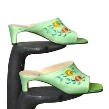 Todd Oldham-1990s Green Embroidered Silk Mules, Size-39