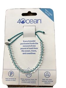 4OCEAN Recycled White Sided Dolphin BEADED BRACELET in Turquoise , New