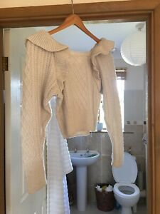 BNWT H&M Wool Frill Jumper Beige/cream XS SOLD OUT bloggers Fav