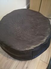 Genuine Leather Pouffe Moroccan Handmade New with Defects Brown Large