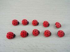 10 x Cute Red Ladybird Lady Bug Baby Novelty Plastic Shank Buttons 15mm G88