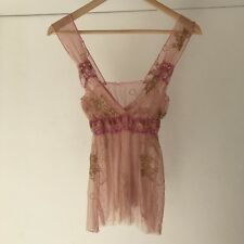 OnGossamer Womens Stretch Sheer Mesh Lace Camisole, Size Small to Medium