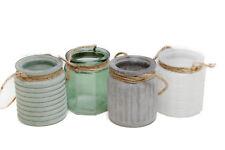 Windlicht-Set Trax 4tlg Glas lackiert grün gau weiß glänzend matt H 9cm  Ø 7cm