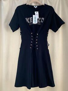 NWT Kenzo Black Dress Size S LaceUp