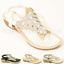 LADIES WOMENS DIAMANTE WEDGE SANDALS HEELS ELASTIC STRAP SUMMER BEACH SHOES SIZE
