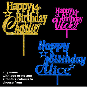 personalised Happy Birthday Cake Toppers glitter custom name age Decorations