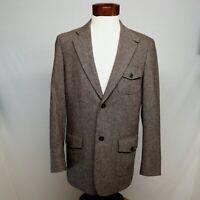 VINTAGE PERRY ELLIS men's BLAZER, s 40 R, brown sport coat, button pockets