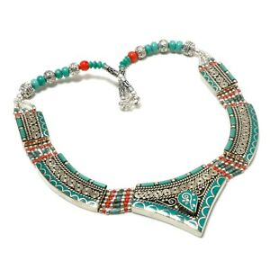 """Solid 925 Sterling Silver Tibetan Turquoise,Coral Gemstone Necklace Jewelry 18 """""""