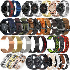 For Samsung Galaxy Watch 42mm 46mm Active 2 Genuine Leather Stainless Steel Band