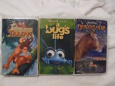 3 PC LOT DISNEY'S A BUG'S LIFE, DINOSAUR & TARZAN VHS MOVIES KIDS SUMMER FUN