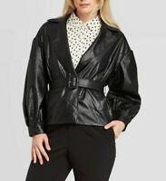 Who What Wear Women's Faux Leather Belted Blazer Jacket, Black, Size L, $50, NwT