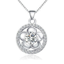 """Fashion 925 Sterling Silver Fancy White Crystal Pendant Charm Necklace 18"""" Chain"""