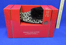 Womens Slippers Memory Foam Leopard Faux Fur Indoor Outdoor Size 5 6 Small NIB