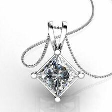 2 ct Princess Cut Diamond 14k White Gold Finish Solitaire Pendant Necklace