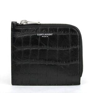 Saint Laurent YSL Men's Black Leather Crocodile Imprint Card Case 396935 1000