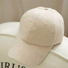 Fashion Unisex Women Suede Baseball Cap Snapback Visor Sport Sun Adjustable Hat Beige