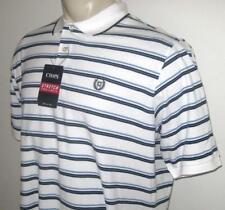 NEW 2XLT CHAPS MENS POLO SHIRT White Blue Striped Stretch Short Sleeve 2XT TALL