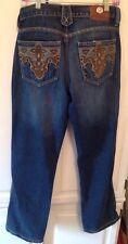 ANTIK Distressed Denim Wash Embroidered Back Pocket Flare Jeans Size 32 EUC!!!