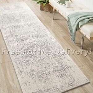 SULIS MEDALLION SILVER GREY TRADITIONAL RUG RUNNER (M) 80x300cm **FREE DELIVERY*