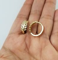 14K Yellow Gold Over Crystals Leaf Hoop Earrings