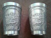 Set (2) German ZInn Becker Embossed Ornate Pewter Shot Glass Jigger Germany