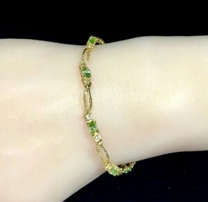 Pretty Green Amethyst & White Sapphire Bracelet - 9ct Yellow Gold  - 7 grams