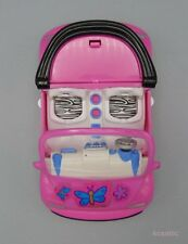 Mattel Polly Pocket 2001 Pink Convertible VW Bug Style Car